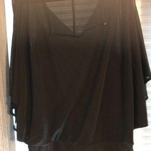 Black batwing sheer top